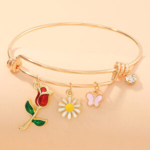 Fashion Classic Drop Oil Rose Butterfly Pendant Bracelet