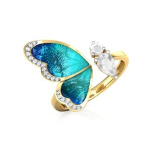 Crystal Teal Butterfly Ring