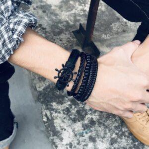 Rudder Wooden Bead Leather Woven Bracelet