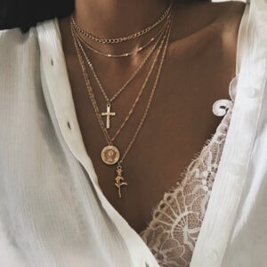 Cross rose combination multi-layer necklace