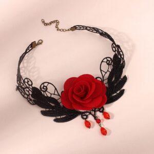 Dark Wind Gothic Rose Flower Lace Necklace Collar
