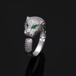Personalized leopard head forefinger ring