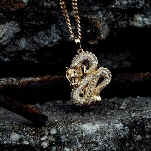 Chinese Dragon Gold Plated Pendant Necklace