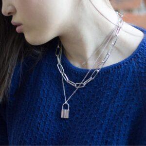 Vintage Chain Heart Lock Pendant