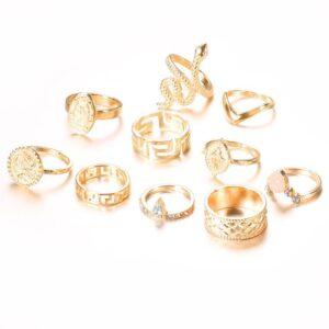 Diamond-shaped 10-piece ring