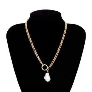 Single-Layer Chain Round Pendant Necklace Female Geometric Pearl Necklace