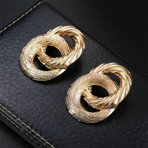 Alloy figure 8 spray paint and electroplated metal earrings