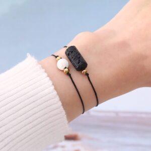 Black and white volcanic stone bracelet
