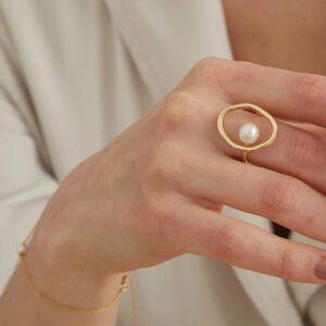 Dainty Faux Pearl Ring for Women Minimalist Rings