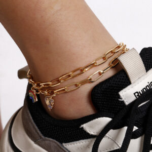 Creative Micro-Inlaid Zircon Color Fan-Shaped Anklet