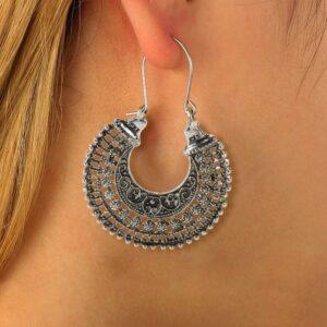 Carved openwork alloy earrings  fan earrings retro ethnic style earrings