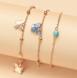 Abalone scallop with butterfly Anklet