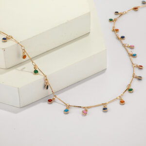 Candy-colored tassel necklace