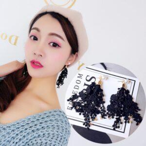 Fringed Lace Flower Rhinestone Pearl Long Earrings