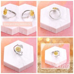 Two-Tone Sunflower Design Sense Opening Ring