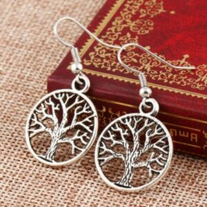 Fashion Natural Stone Tree Of Life Pendulum Pendant Earrings For Women Healing Alloy Round Circle Dangle Earring Party Jewelry