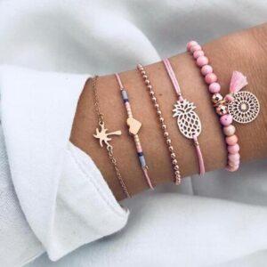 Bead Chain Bracelet Set Anklet
