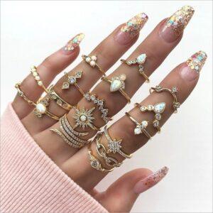 17-piece Bohemian Ring Set