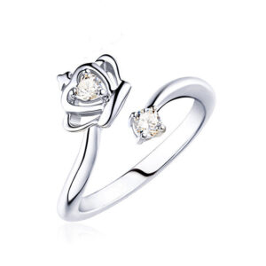 Adjustable ring with diamond crown