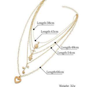 Cross palm rose love long pendant necklace