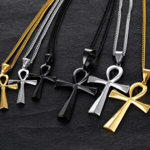Cross-border e-commerce goods source, European and American glossy stainless steel ancient Egyptian Cross man Necklace Amulet Pendant