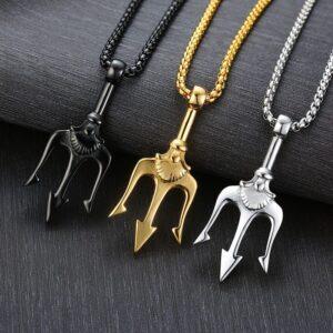 Titanium steel trident necklace