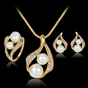 Three-piece Set Of Earrings Necklaces  Rings  And Pearls