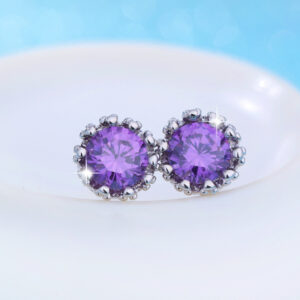 Diamond Zircon Crown Stud Earrings