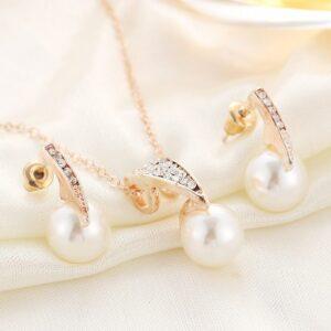 Pearl Necklace Earring Set Wedding Banquet Dress