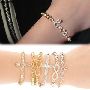 Diamond-Encrusted 8 Letter Love Cross Elastic Bracelet