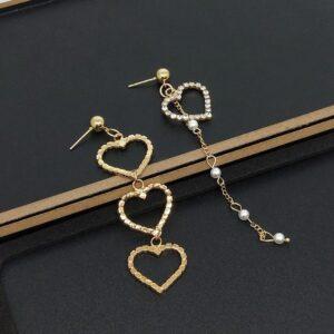 New Heart Shaped Asymmetric Diamond Pearl Earrings