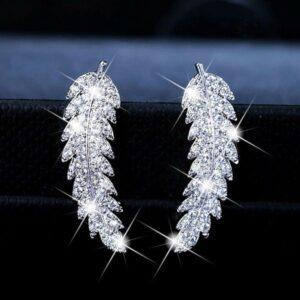 Classic micro inlaid zircon leaf earrings