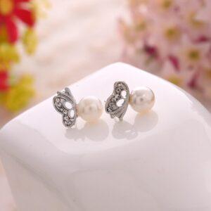 Butterfly Diamond Pearl Earrings For Women