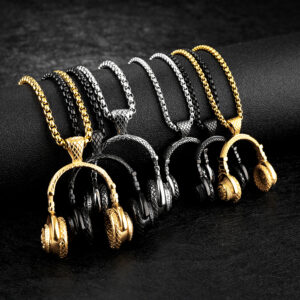 Titanium fashion music headset earplugs pendant necklace for men
