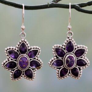 Vintage Peach Blossom Purple Turquoise Thai Silver Amethyst Petal Earrings