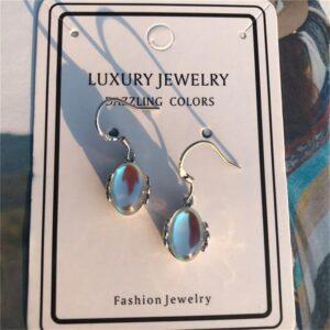 Moonstone Teardrop Earrings Oval Opal Copper Droplets Dangle Earrings