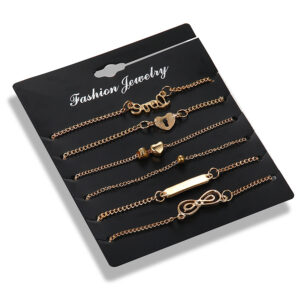 Heart-Shaped 8-Character Love Six-Piece Anklet Female
