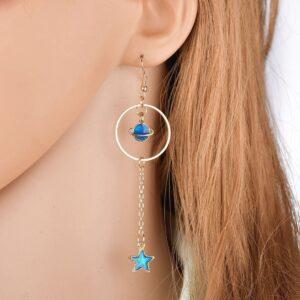 Blue planet moon stars starry sky earrings