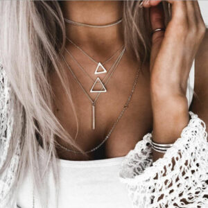 Bohemian Europe and the United States cross-border jewelry popular new triangle pendant multi-layer suit necklace