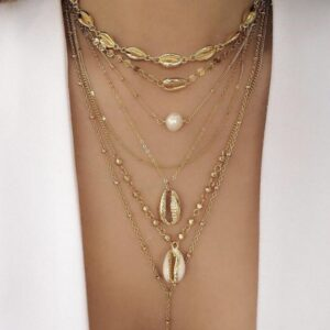 Alloy shell sequin necklace