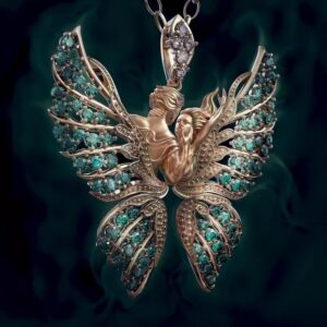 Angel Wings With Diamond Butterfly Necklace Lovers Pendant
