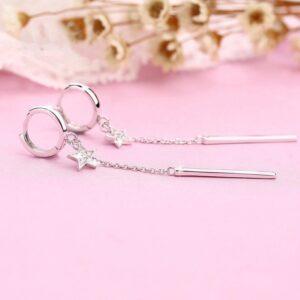 Long Female Five-pointed Star Fashion Simple Diamond Earrings