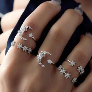 Diamond Set Ring Star Moon Crystal Ring