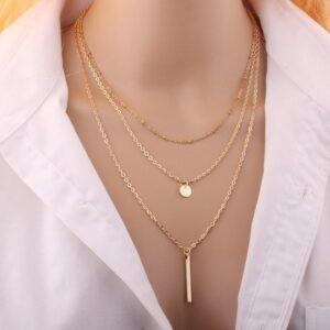 Copper bead chain sequin metal strip multi-layer necklace