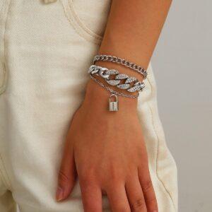 Multi-layer micro diamond lock pendant bracelet