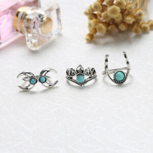 European and American retro personality exaggerated turquoise crescent owl 11 pieces alloy set ring