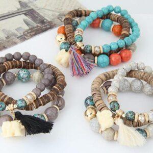Baby Elephant Tassel Wood Beads Beaded Multi-Layer Temperament Bracelet Bracelet