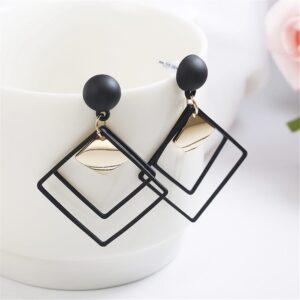 All-match personality geometric metal piece diamond earrings earrings