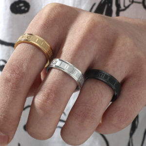 High-end Simple Stainless Steel Roman Numeral Ring Set