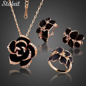 Popular jewelry camellia earrings necklace ring three-piece